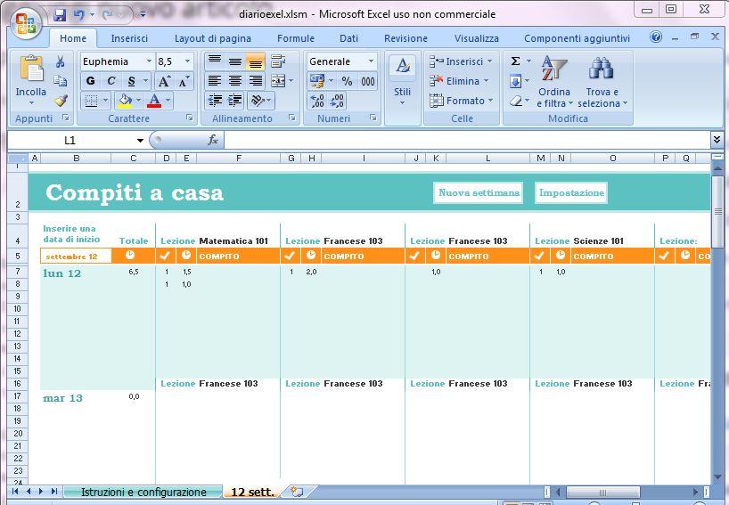 Modulo per organizzare i compiti a casa dal sito Microsoft