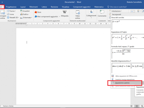 Scrivere le formule in Word